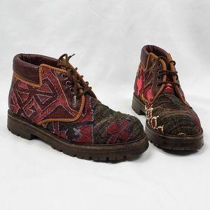 🥀Prestige Turkish Kilim Wool Combat Ankle Boots 8